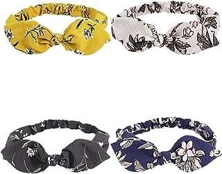 4 Pcs Headbands For Women Bow Boho Flower Printing Bubble Yarn Fabric Hair Band Teens Elderly