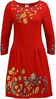IVKO Charmed Forest Motifs Dress, Red