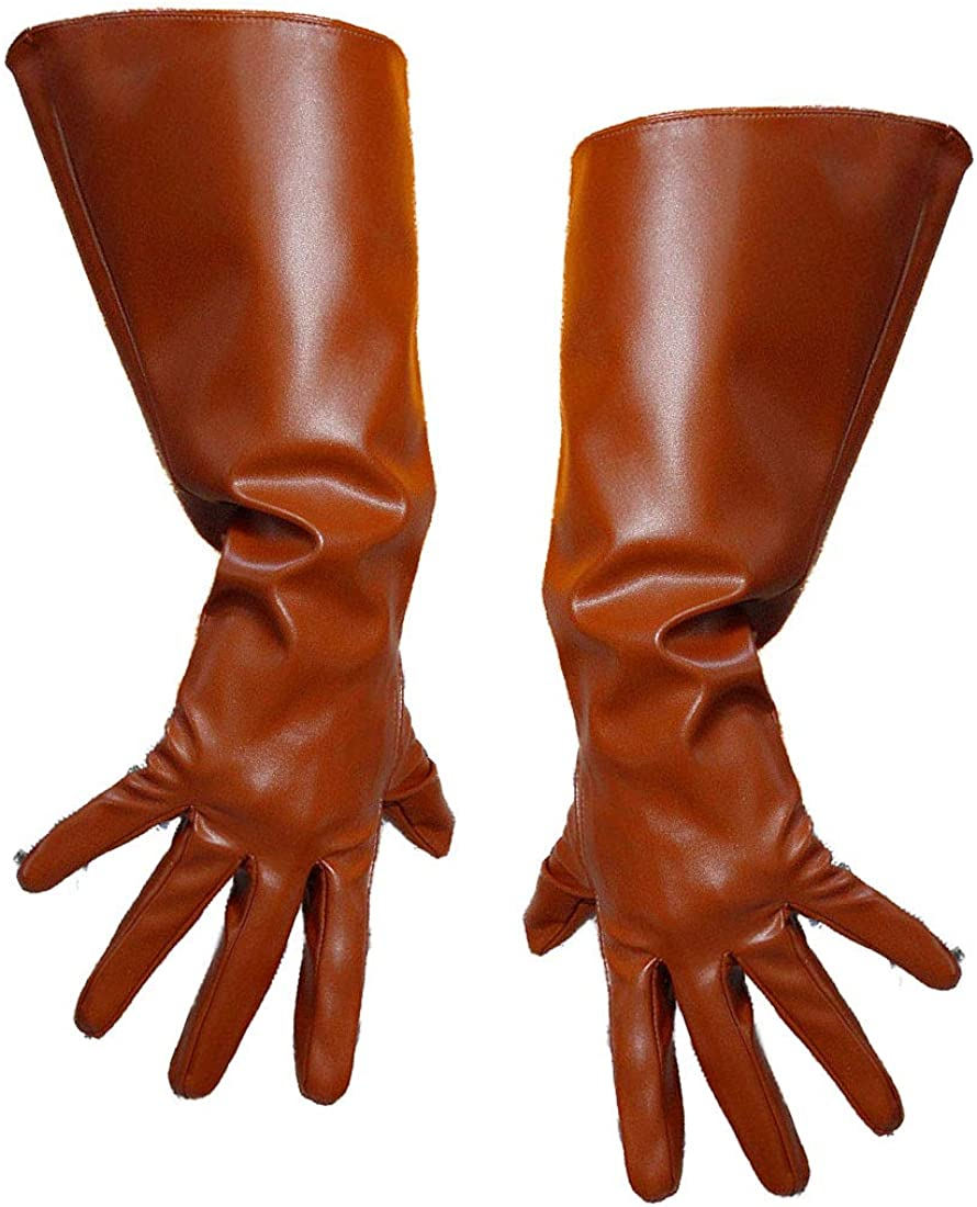 Winter Gloves Unisex Faux Leather Warm Opera Dress Driving Gloves, Wide Sleeves 38cm Brown
