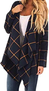 iHHAPY Ladies Plaid Coat Short Parka Patchwork Outerwear Waterfall Cardigan Long Sleeve Outerwear Warm Winter Coat