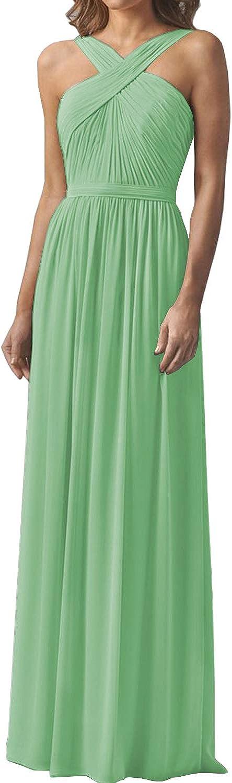Yilis Women's Crisscross 引出物 A-line 本物 Chiffon Long Dresses Bridesmaid