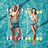 Inflatable Pool Floats, Pool Loungers and Floats for Adults with Bonus Air Pump, 2 Pack Multi-Purpose Pool Float, River Lake Floats for Adults Heavy Duty, Portable Water Rafts for Pool, Blue,Green