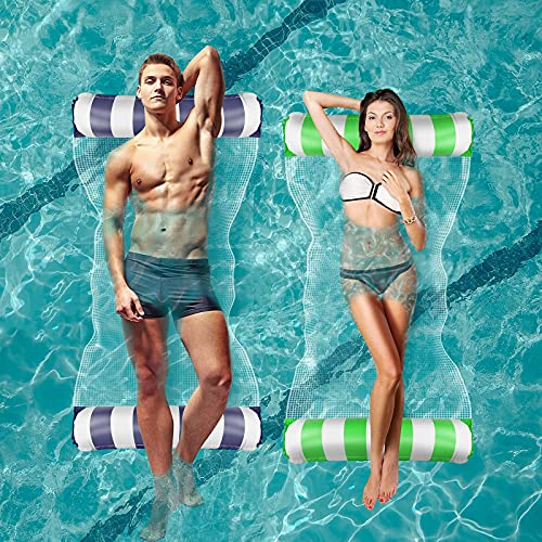 Inflatable Pool Floats, Pool Loungers and Floats for Adults with Bonus Air Pump, 2 Pack...