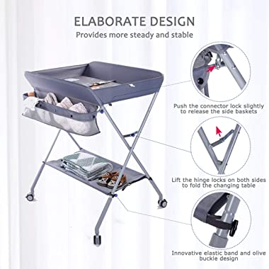 EGREE Baby Changing Table Portable Folding Diaper ChangingStation with Wheels, Adjustable Height Mobile Nursery Organizer wi