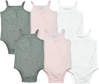 Baby Girls' Bodysuits, Camisole Sleeveless Tank Top One-Pieces, 6-Pack