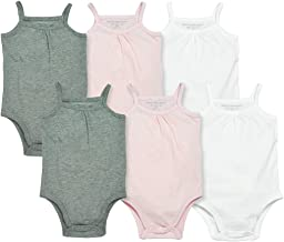 Burt's Bees Baby Baby Girls' Bodysuits, Camisole Sleeveless Tank Top One-Pieces, 6-Pack