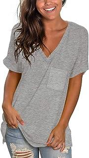 Womens Basic V Neck T Shirts Rolled Short Sleeve Summer...