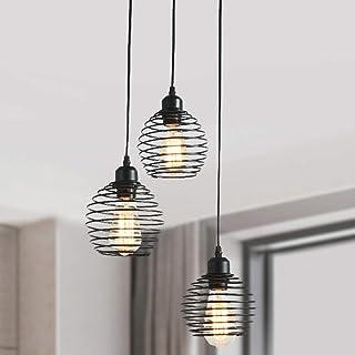 Ganeed Pendant Lighting with Spring Cage Vintage Adjustable Hanging Lighting Fixture 3-Lights Black Pendant Light for Kitc...