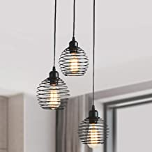 Ganeed Pendant Lighting with Spring Cage Vintage Adjustable Hanging Lighting Fixture 3-Lights Black Pendant Light for Kitc...