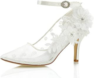 Mrs Right 16239 Women's Bridal Shoes Closed Toe Stiletto Heel Lace Satin Pumps Satin Flower net Yarn Wedding Shoes