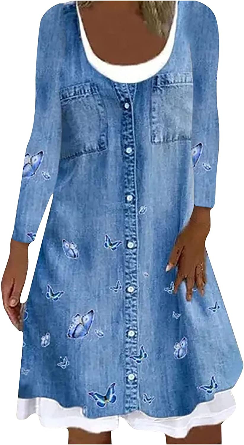 Womens Button Down Floral Print Denim Dress with Double Chest Pockets O Neck Long Sleeve Loose Knee Length Jean Dresses
