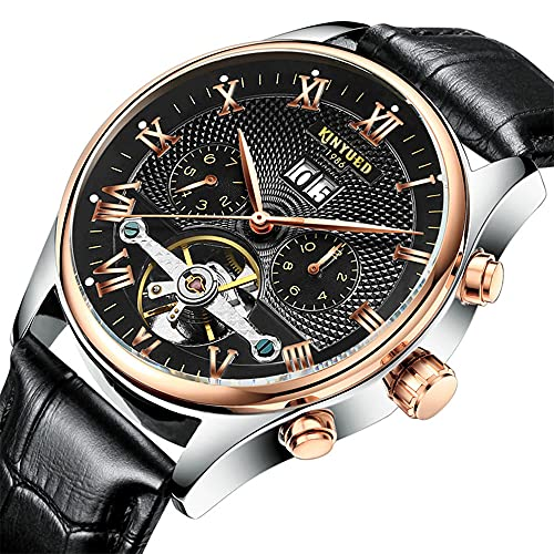 Relojes de pulsera de cuero, multifuncionales, impermeables, para hombre de negocios, Tourbillon, reloj mecánico automático, hueco.,