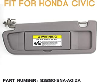Right Medium Gray Passenger Sun Visor for 2009 2010 2011 Honda Civic IAMAUTO 56351 Right Passenger Side Warm Gray