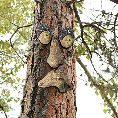 Decoración de cara de árbol con luz en negro – Escultura lunática de hugger de árbol, decoración exterior y jardín, accesorios creativos exteriores de Pascua (A)