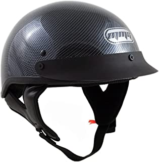 MMG 205 Motorcycle Helmets, Half Shell Cruiser DOT Street Legal, Carbon Fiber, X Large, Includes Riding Goggles