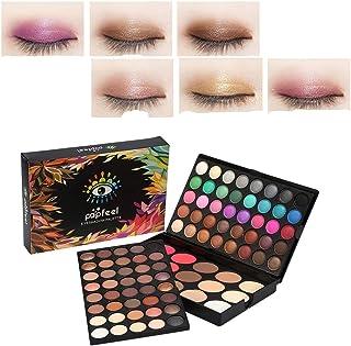 Kit de maquillaje de paleta de sombra de ojos, paleta de colores de maquillaje en polvo con brillo de 95 colores, 80 sombras de ojos + 15 corrector de rubor