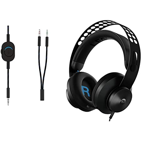 Lenovo Legion H300 Stereo Gaming Headset,3.5mm Wired,Fully retractable noise-cancelling microphone,<5% distortion, 50mm audio drivers,Volume control, Self-adjust headband, Rotatable PU leather earcups