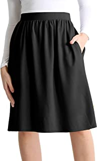 Womens Knee Length Flare A-Line Skirt with Side Pockets - Made in USA