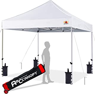 ABCCANOPY 10x10 Canopy Tent Pop up Canopy Outdoor Canopy Commercial Instant Shelter with Wheeled Carry Bag, Bonus 4 Canopy Sand Bags, White