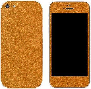غشاء واقٍ من مجموعة Slickwraps Glitter لهاتف iPhone 5c - بلون برتقالي برتقالي - جلد - عبوة بيع بالتجزئة - لون برتقالي فاتح