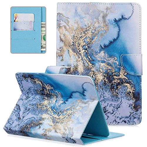 10.1 inch Android Tablet Case, Universal 10' Tablet Case, APOLL Synthetic Leather Anti-Scratch Drop Protection Folio Stand Pocket Wallet Protective Case for All 9.5-10.5 inch Tablet, Blue Marble