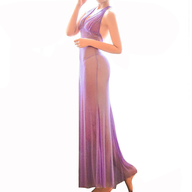 セクシーランジェリー ロングドレス ロングスリップ シースルーランジェリー 綺麗なS字ライン ライトパープル 身長160cm以上の方向け Synlala