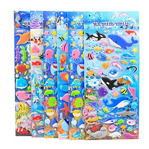 STOBOK 10 Blätter 3D Cartoon Meerestier Aufkleber Delphin Fisch PVC Blase Puffy Aufkleber für Kinder