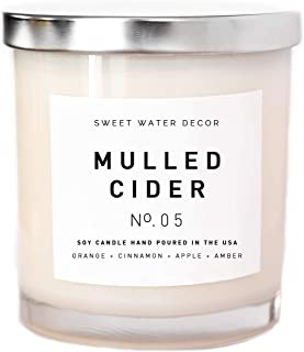 Mulled Cider Natural Soy Wax Candle White Jar Silver Lid Scented Orange Cedarwood Lemon Cinnamon Cranberry Apple Fall Winter Christmas Lead And Gluten Free Cotton Wick Made in USA Bathroom Home Decor
