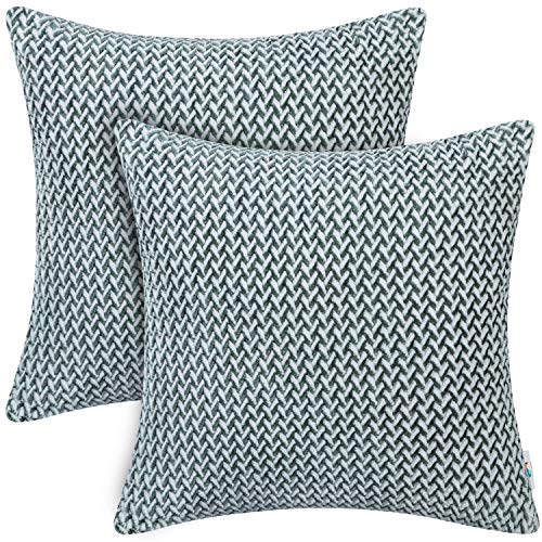 PAULEON Throw Pillow Covers 20x20 – Emerald Green and White, Set of 2 – Decorative Cushion Cases – Perfect for Couch, Sofa, Bed, Accent Pillows