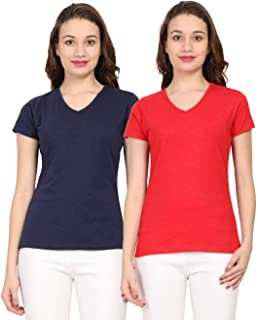 OCEAN RACE CAPSICA Women Cotton(Cloth Look Thick & Thin Effect) V Neck Half Sleeve T-Shirt Pack of-2