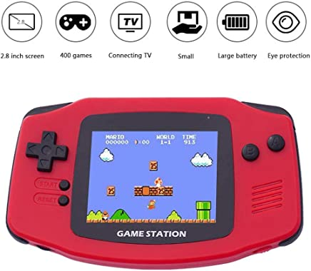 Handheld Game Console with Built in Games,Leegoal 2.6 Inches Handheld Video Game Console Large Screen with 400 Games for Children,Game Console Handheld Portable Classic Retro Game Console(White)
