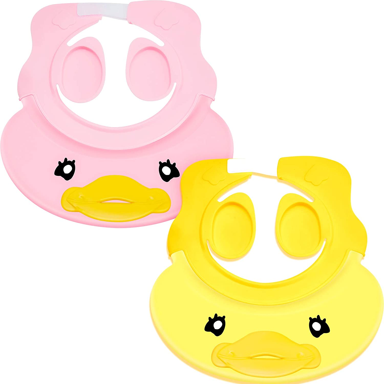 2 Pieces Adjustable Baby Shower Cap Visor Silicone Baby Bathing Hat Waterproof Shampoo Cap for Children Toddler Girls Boys Protect Ears Eyes, Yellow and Pink
