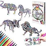 GrandEver Jeu de Puzzle de coloriage 3D,Art de coloriage Peinture 3D Puzzle avec 4 Puzzles et 12 Marqueurs pour Enfants 4-12 Filles et Garçon Amusant créatif Bricolage Jouets Cadeau (3D Animal)