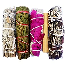 💜 CLEAR NEGATIVE ENERGY - Body, mind, room, objects, crystals Smudge Bundle with White Sage Smudge Sticks and 🌸🌺Flower Sage Smudge Stick🌺🌸 for negative energy cleansing 🌟Palo Santo Smudge Stick🌟 🍃Cedar Smudge perfect for house blessing. Yerba Santa S...