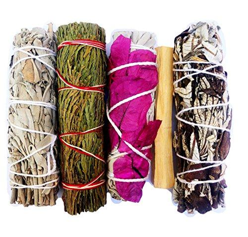 MAMA WUNDERBAR Smudge Kit - White Sage, Cedar, Flower Sage, Yerba Santa, Palo Santo. Home Cleansing, Blessing, Manifesting, Love