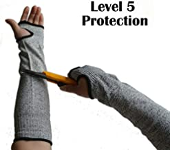 Anti Cut Resistant Sleeves Arm Safety Sleeves 14 INCH Slash Resistant Sleeves Cut Resistant Knit Sleeves,Level 5 Protection, Slash Resistant Sleeves with Thumb Slot Helps Prevent Scrapes(1 PAIR)