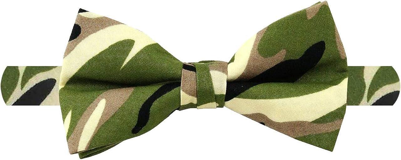 Jacob Alexander Men's Camouflage Camo Cotton Green Black Banded Bow Tie