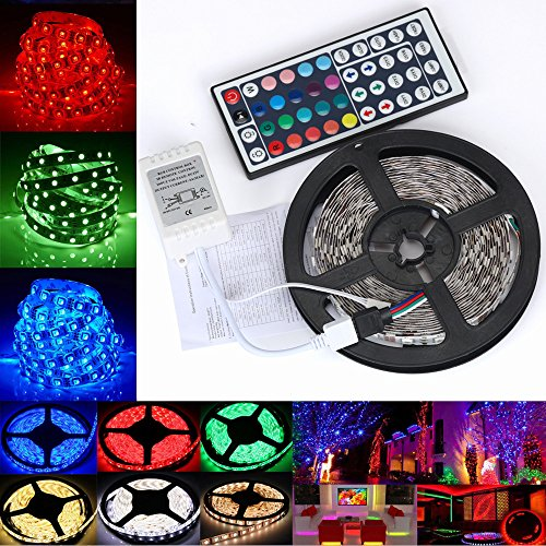 MOMFEI Led Strip Lights 5-10m with 44 Keys IR Remote and 12V Power Supply Flexible Color Changing 5050 RGB 300 LEDs Light Strips Kit for Home, Bedroom, Kitchen,DIY Decoration (5M)