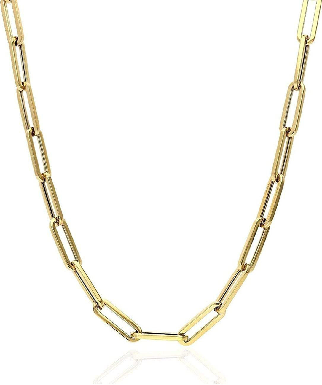 Solid 925 Sterling Silver - 14k Gifts Plated Elongated Rolo New products, world's highest quality popular! Pap Gold