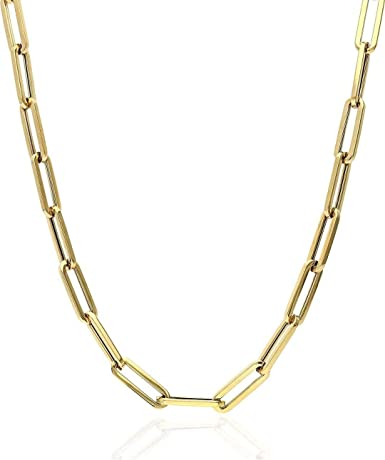 """Solid 925 Sterling Silver - 14k Gold Plated - Elongated Rolo Paperclip Necklace - 2.5mm 3mm 4mm - 16-24"""" - Very In Fashion Ladies Chain - MADE IN ITALY"""