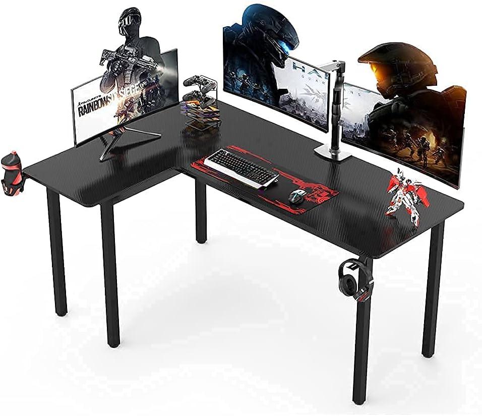 Dripex Gaming Schreibtisch 155cm Tisch Gaming Kohlefaseroberfläche Computertisch Groß Eckschreibtsich mit Getränke-, Gamepad- und Kopfhörerhalter