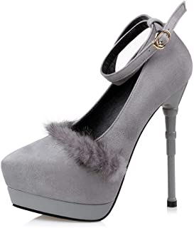 Ying-xinguang Shoes Fashion Waterproof Platform Mink Fur with High Heels Women's High Heel Comfortable
