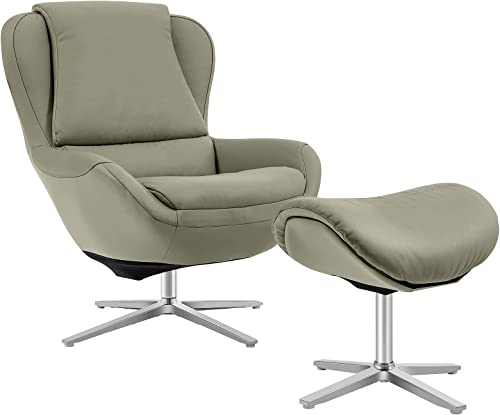 popular Giantex 360 Swivel Leather Lounge Chair with high quality Ottoman, Full Grain Recliner Leisure Armchair w/Footstool, Aluminum Alloy Base, Comfy Upholstered Lazy lowest Reading Single Sofa Club Chair, Support to 330lbs online sale