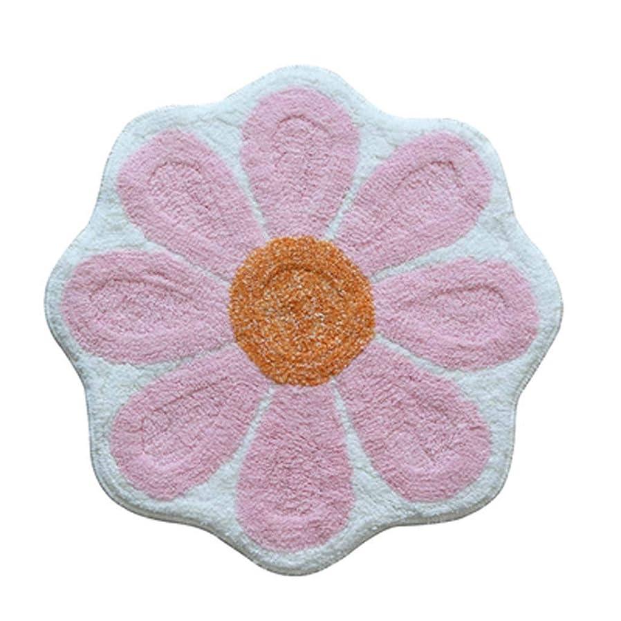 舞い上がるによるとフォーカスKuangfuMall ヨーロッパの漫画の軽い花のマットの玄関の吸収剤の滑り止めのバスマットの寝室 (Color : ピンク)