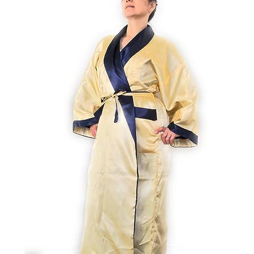 THY COLLECTIBLES Unisex Reversible Silk Satin Robe Kimono Relaxation  Bathrobe Dragon Embroidered Night Gown 8b5368178