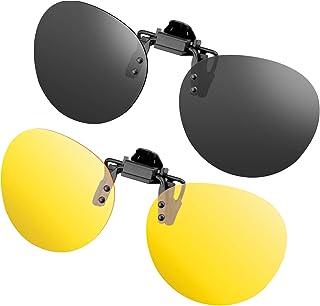 SPLAKS - Gafas de sol con clip, unisex, polarizadas, sin montura, lentes rectangulares, con clip de apertura hacia arriba se pueden enganchar en las gafas graduadas, gafas de sol con clip de 2 piezas