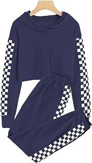 Meikulo Kids 2 Piece Outfits Girls Crop Tops Hoodies Long Sleeve Fashion Sweatshirts and Sweatpants