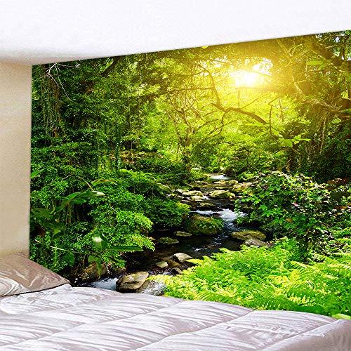 Naturer Grün Wald Wandteppich 180x230 Baum Sonnenaufgang Landschaft Dschungel Wandbehang Tapestry Tapisserie Wandtuch Tischdecke Strandtuch Dekotuch