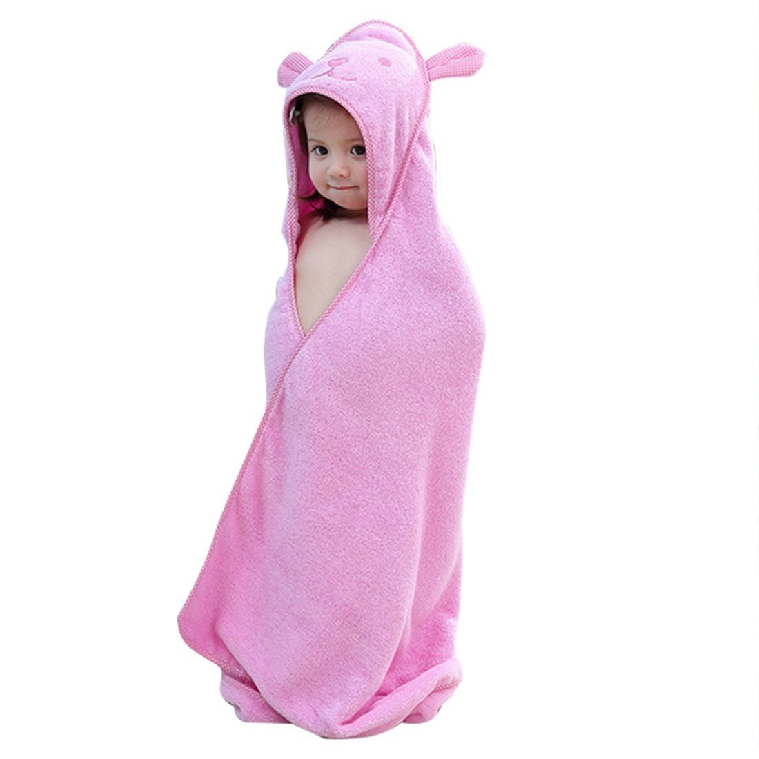 Baby Hooded Toddler Towel with Bear Ear- Soft and Thick 100% Cotton Bath Set for Kids Girls Boys Infant ad Toddler, Good Choice (Pink)
