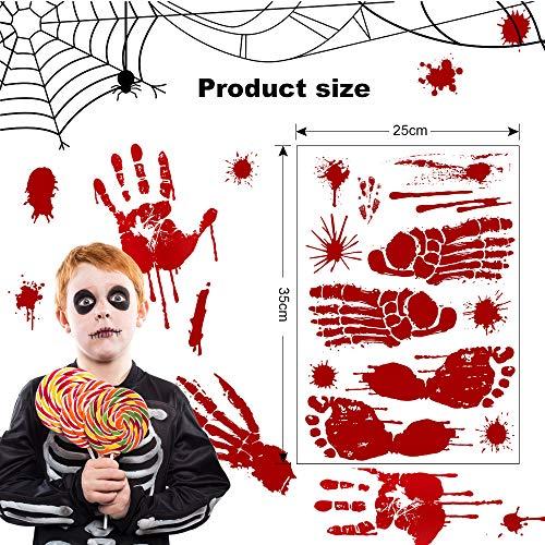 Aiooy Halloween Impronte Sanguinanti, Vetrofanie di Halloween, Adesivo sanguinante Adesivo per Pavimenti, Impronte di Mani Sanguinanti & Sangue Simboli Halloween Statici Decorazione, 6 PZ